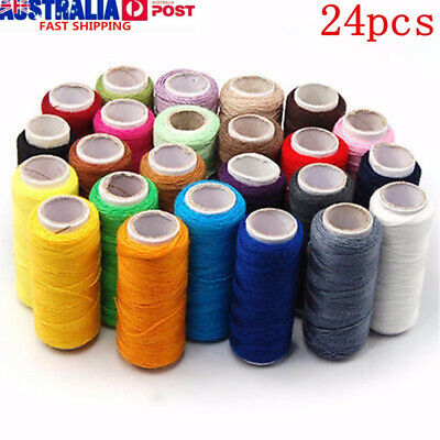 200m Spools 24 Colors Cotton Reel Cord Machine/Hand Sewing Thread Crafts AU