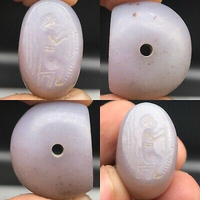 Ancient Agate Intaglio Seal King Wonderful Stone BEAD