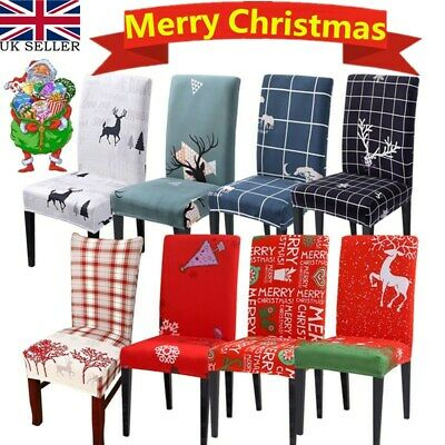 Christmas Room Chair Cover Removable Washable Stretch Seat Cover Decor Slipcover