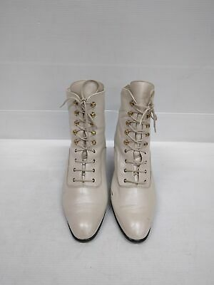 Sz 8.5 or 9 Vintage WALTER KAFER Metallic off White Lace up Leather ankle boots