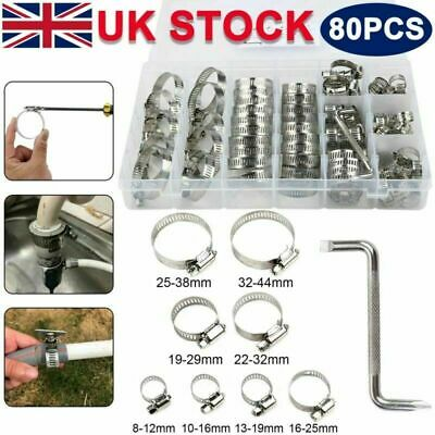 80Pcs Driver Jubilee Clip Set Assorted Stainless Steel Hose Clamp Kit Size 8-44m