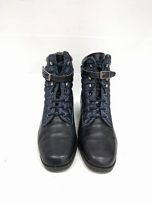 Sz 40 Vintage ladies NAVY Blue Quilted 90s lace up leather ankle boots