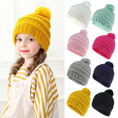 Kids Children Knitted Beanie Hat Hats Cap Winter Warm Girls Boys 1 Pom Pom