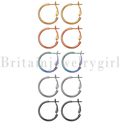 5pairs Stainless Steel Women Girls Big Circle Huggie Hoop Round Dangle Earrings
