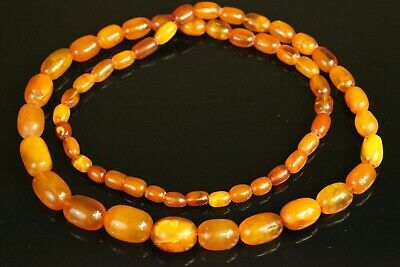 Natural OLD Antique 56.1g Butterscotch OVAL Baltic Amber Stone Necklace B937