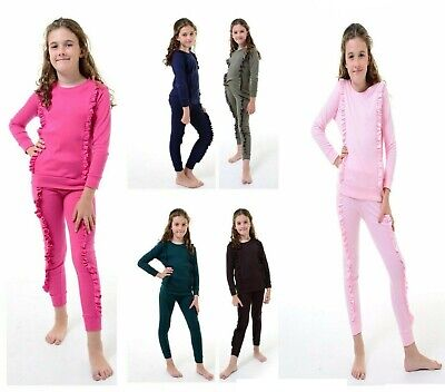 Girls Childrens Duel Ruffle Frill Tracksuit Kids Co Ord Loungewear Jogger Set