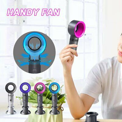 360 Degrees Portable Bladeless Hand Held Cooler USB Cable No Leaf Handy Fan TR