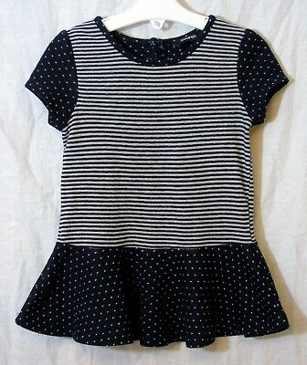 Girls George Navy Blue Grey Spot Stripe Flared Short Sleeve Dress Age 2-3 Years