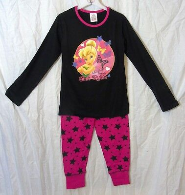 NEW Girls Disney Tinker Bell Moody Black Pink Pyjamas Pjs Set Age 7-8-9-10 Years