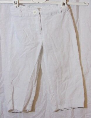 Girls Next White Linen Blend Adjustable Waist Capri Cropped Trousers Age 4 Years