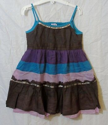 Girls Monsoon Brown Blue Sparkly Strappy Lined Sleeveless Dress Age 6-7 Years