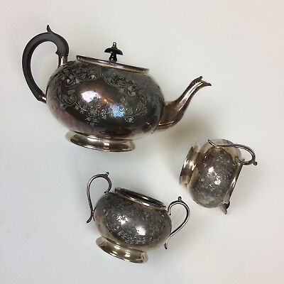 Cooper Bros Tea Set 3pc Silver Plated Antique EPBM Etched Numbered Sheffield