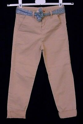 Girls John Lewis Pink Chino Belted Waist Turn Ups Casual Trousers Age 7 Years