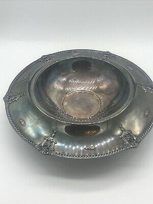 96702 Stamped Silver Wallace Baroque Rose Pedestal Bowl Ornate Antique