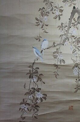 """Japanese hanging scroll painted on paper """"Birds on cherry blanch"""" F78"""