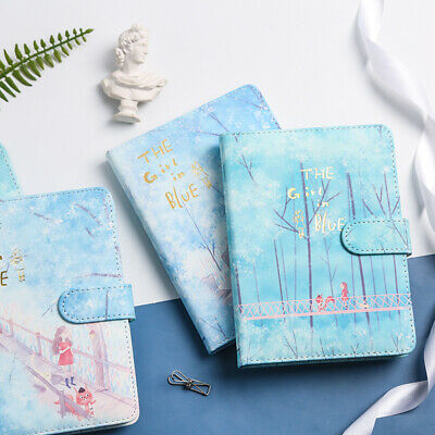 """""""Girl in Blue"""" 1pc Faux Leather Beautiful Journal Diary Notebook Notepad Planner"""