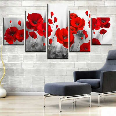 5 PCS Red Poppy Flower Abstract Canvas Wall Art Home Decor Print Poster Painting