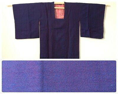 Japanese women's michiyuki, blue wool, medium, for kimono, Japan import (AD1773)
