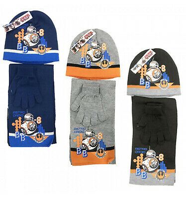 Boys Girls Kids Official Star Wars BB-8 Winter Hat, Gloves And Scarf Sets