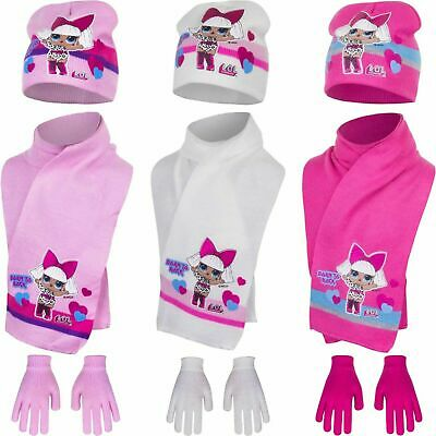 Girls Kids Official LOL Surprise Winter Hat, Gloves And Scarf Sets