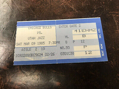 March 9 1985 Chicago Bulls Vs Utah Jazz Ticket Stub Michael Jordan