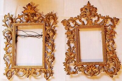 Pair of ANTIQUE Gold Gilt Cast Iron Victorian ROCOCO Picture Frames 1890s