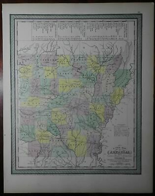 Arkansas state map 1850 Cowperthwait w/ steam boat routes lovely early roads