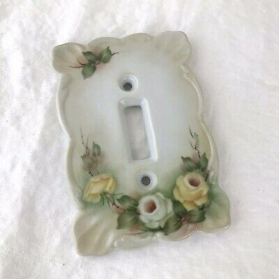 Vintage White Porcelain Switch Plate Hand Painted Yellow Roses 1986
