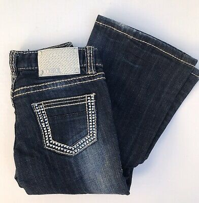 G5-2344 Rock /& Roll Cowgirl Girls/' Boot Cut Jean Multi Thread Embroidery NEW