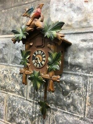Cuckoo Clock, Carved Wood, Weights Movement Mechanism, Made Germany Vintage a,