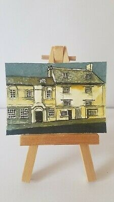 ACEO original miniature painting 'The jew;s house in LINCOLN'  By Flumy