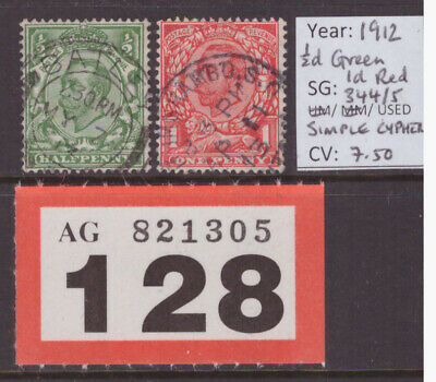 LOT #R128 - SG344/5 - 1/2d Green & 1d Red - Simple Cypher Wmk - 1912