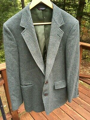 Orvis Mens 40 Reg Wool Houndstooth Sport Coat Blazer Jacket Made USA Barely Worn