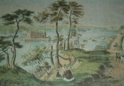 STATEN ISLAND AND THE NARROWS From Fort Hamilton Brooklyn Palmer Currier & Ives