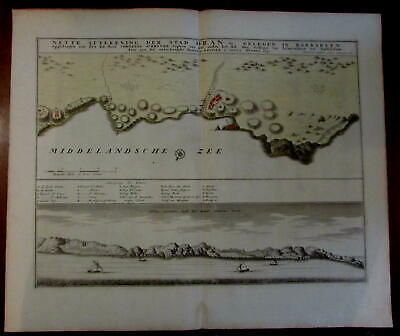 Oran Algiers North Africa Barbary coast 1732 Ottens large Dutch engraved map