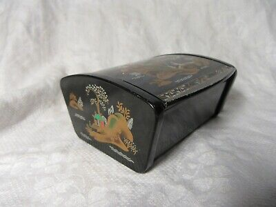 Faux Lacquer TRINKET BOX - British Made Chinese Design Metal Lidded Casket