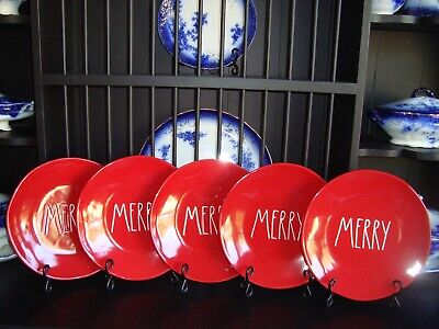 """❤️Set of 5 NEW Rae Dunn 11"""" MERRY Plates Red w/ White Letters Christmas Dinner"""