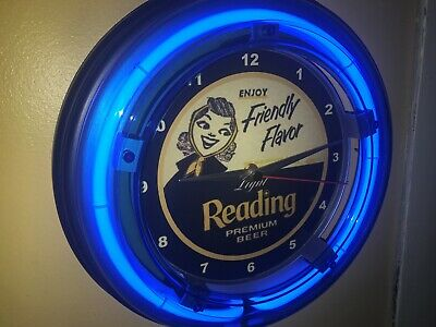 Reading Light Beer Bar Man Cave Advertising Blue Neon Wall Clock Sign