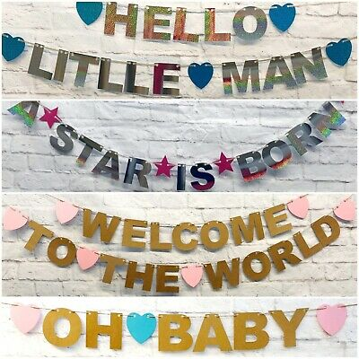 Hello world Gender reveal Baby Shower BANNER boy girl pink OR blue deco bunting