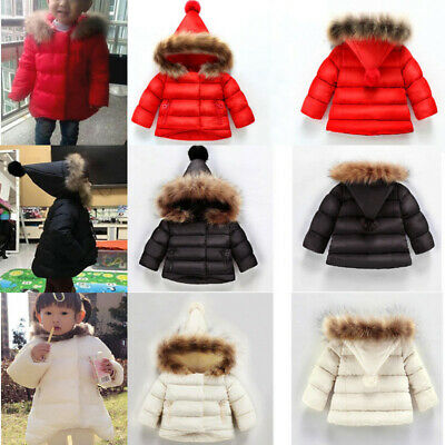 Kids Baby Girls Long Sleeve Cotton Hooded Coat Winter Warm Fur Collar Outerwear