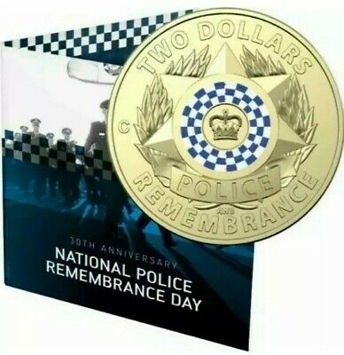 AUSTRALIA Mint Mark C 2019 $2 C POLICE REMEMBRANCE DAY COLOURED UNC COIN Card