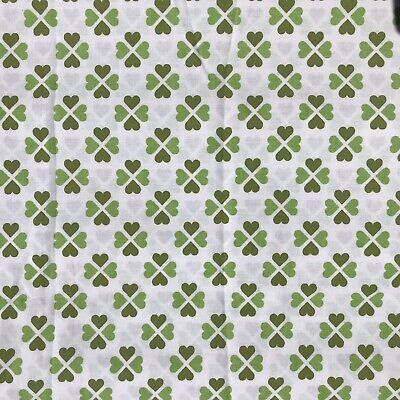 Hearts Green vintage FABRIC material vintage 1960s 1970s Clover Sheet