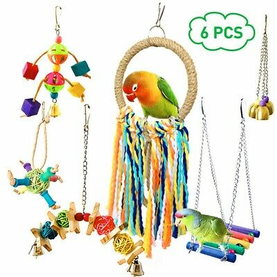 6 Pcs Parrot Bird Toys Wooden Hanging Bell-Pet Bird Cage Hammock Swing Bite Toy