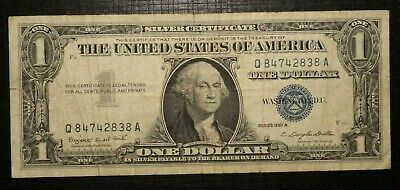 1957 A UNITED STATES Silver Certificate Blue Seal 1 Dollar  (279K)