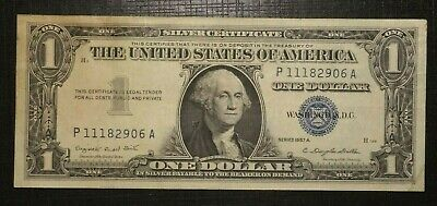 1957 A UNITED STATES Silver Certificate Blue Seal 1 Dollar  (284K)