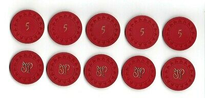 (10)Vintage 1940's 50's GULFSTREAM PARK Red $5 Casino Blackjack Poker Chip Lot
