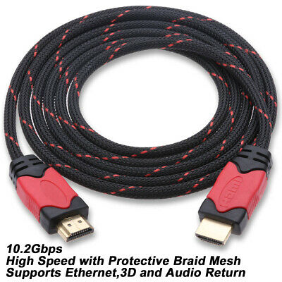 Braided Ultra HD HDMI Cable - 3ft 6ft 10ft 15ft 25ft 30ft For BLURAY 3D DVD PS4