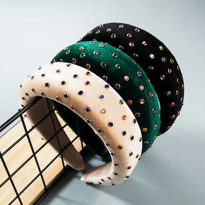 Women's Padded Headband Embellished Hairband with Colorful Crystal Crown Show