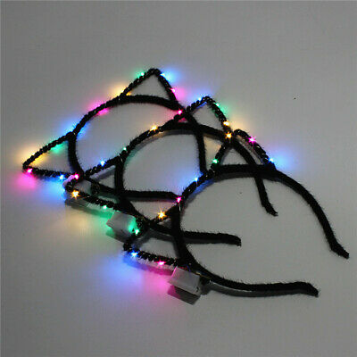 UK STOCK 10 LED Light-up Flashing Party Headband Cat Ears