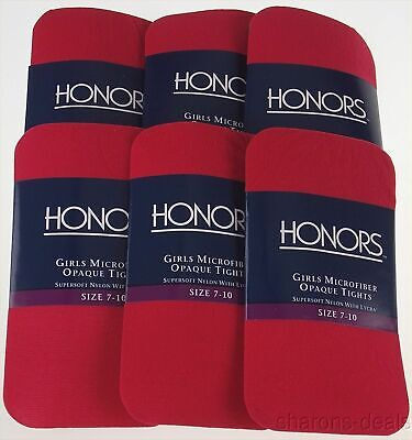 12 Pairs Red Scarlet Honors Girls Microfiber Opaque Tights Med Supersoft Made US